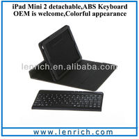 LBK120 New Leather Protective Case Stand cover with Built-in Removable Wireless Bluetooth ABS Keyboard for iPad Mini