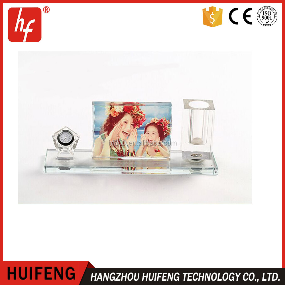 Sublimation blank crystal table glass/photo frame &clock& pen container