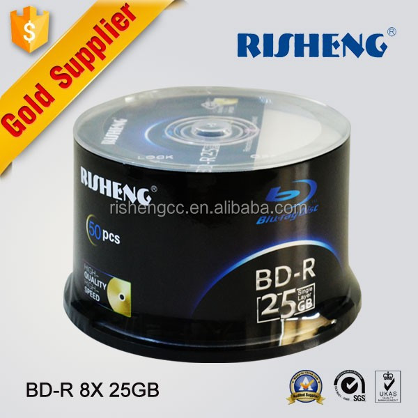 RISHENG blank bd disc 25gb factory wholesale/blank blu ray disk 6x printable/blank bd 50cake box