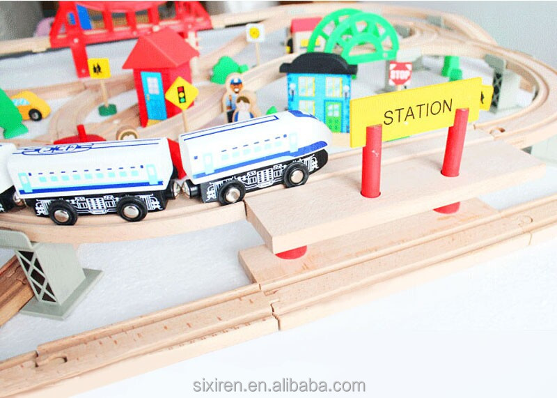 130 pcs wooden city train set wooden train track