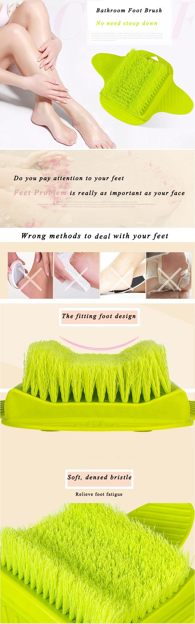 Suction Cup Bathroom Foot Cleaning Brush