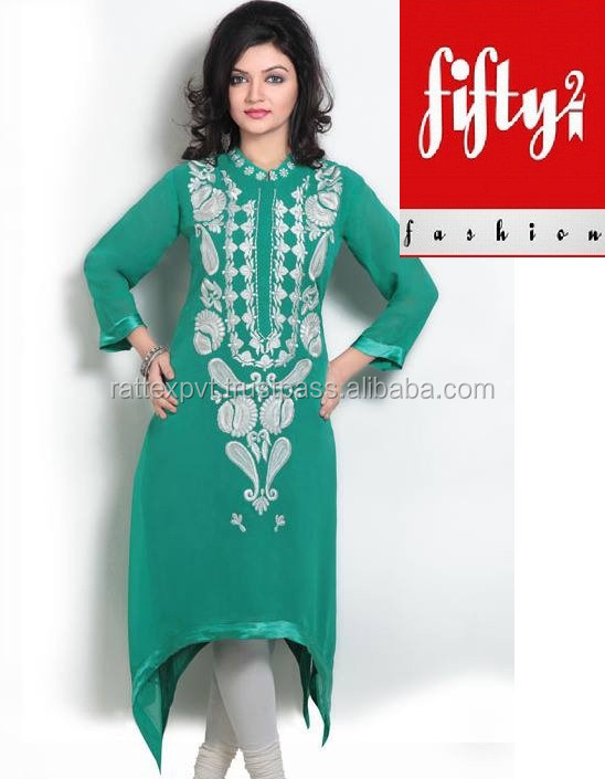 New Trendy Green Stylish Embroidered Long Kurti