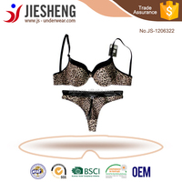 hot sexy women girls bra thong set ladies underwear sets with leopard design