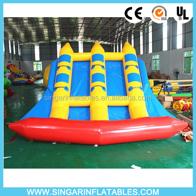 PVC inflatable water banana boat,inflatable fly fish