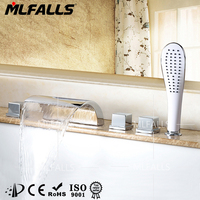 Mlfalls Large sink waterfall brass chrome deck mounted bath delta shower faucets