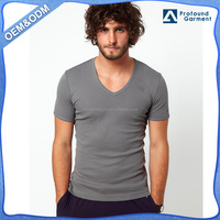 muscle fit t-shirt wholesale 100% cotton soft and dry fit man oversized blank t-shirt v-neck cotton fabric with company logo