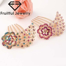 2017 newest fashion Five tooth Crystal Rhinestone combs fresh and natural temperament hairpin wedding hair accessories