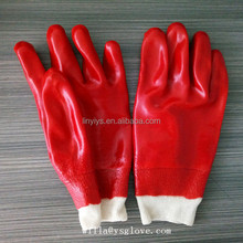 Wholesale pvc fully coated gloves with knit wrist from factory