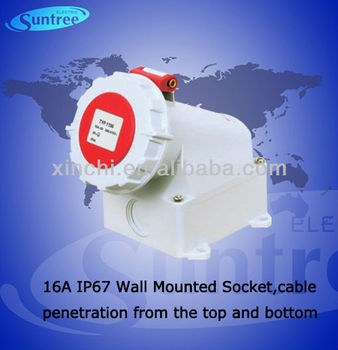 IP67 16a industrial wall mounted socket outlet,cable penetration from the top and bottom