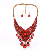 fashion necklace and earring sets stylish fake crystal necklace accessories for women