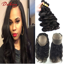 Peruvian Body Wave 360 Frontal Closure With Bundles 360 Lace Frontal Human Hair Pre Plucked Thick