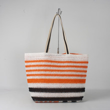 Wholesale paper straw beach bags stripe beach tote bag