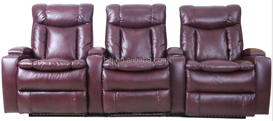 BJTJ Home theater three seater one motor sofa recliner storage with LED base light,acoustic system 70577-3.5