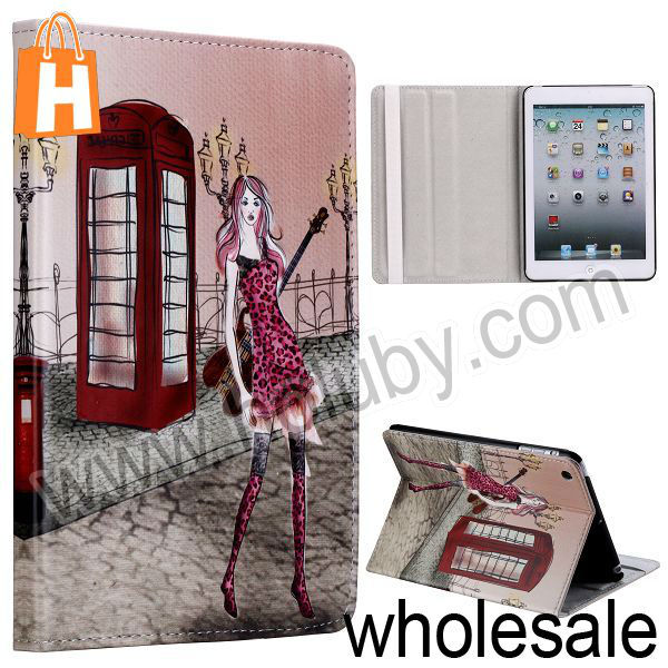 Girl Pattern Stand Flip Leather Case for iPad Mini/Retina iPad Mini with Elastic Band