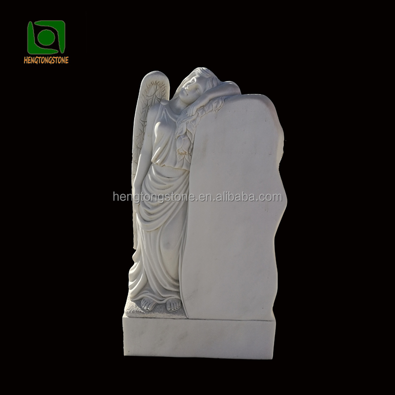 Handcarved White Marble Angel Tombstone for Memorial