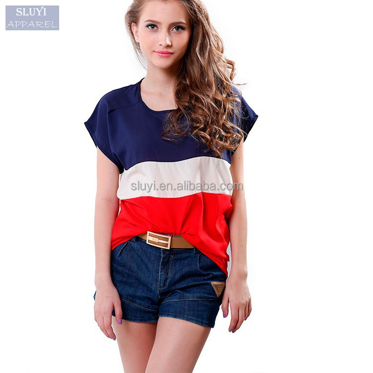 ladies oversize t shirt casual colorful wholesale striped t-shirt Lady Loose Short batwing Sleeve custom christmas raglan shirts