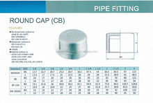 stainless steel 304 cast iron pipe threaded round end cap