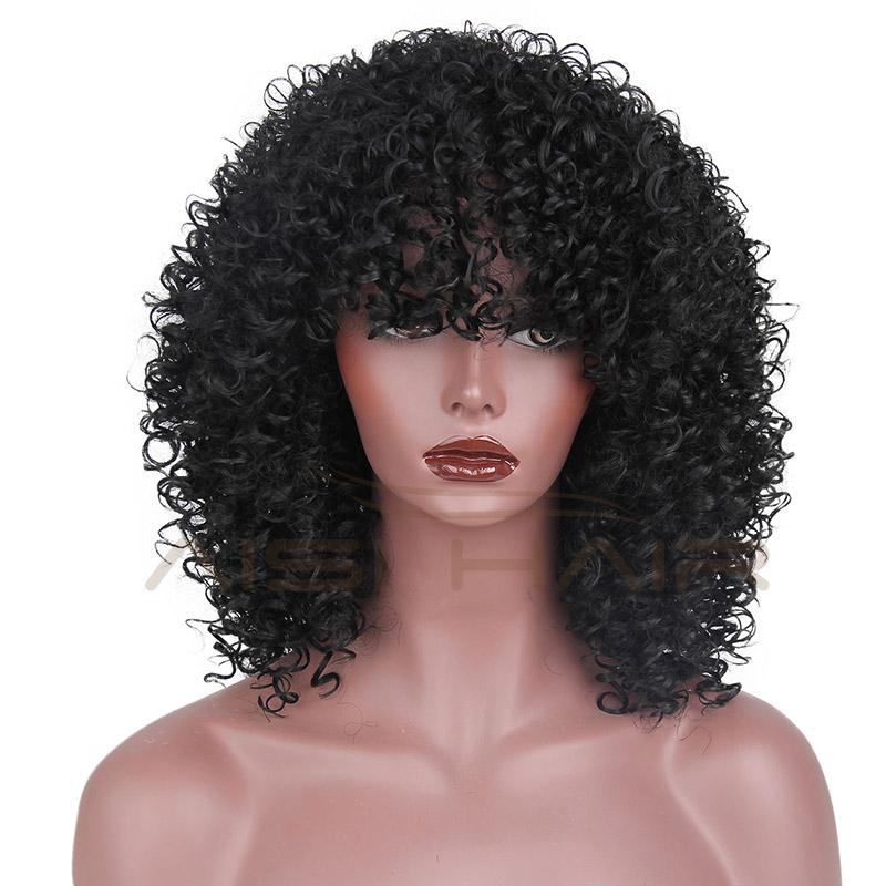 Atacado Curly Perucas Afro Para As Mulheres Negras Sintéticos de Fibra Resistente Ao Calor Preto Peruca Encaracolado Crespo