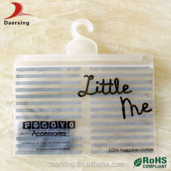 DongGuan factory durable frosted pvc ziplock bag with hanger in high quality made by Daerxing