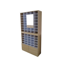 convenient stack up woodn shoe and eyewear display stands cabinet