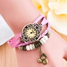 Korean watches cheap decorative watch with cherry pendant vintage leather wrist watch 10 colors can mix pendants