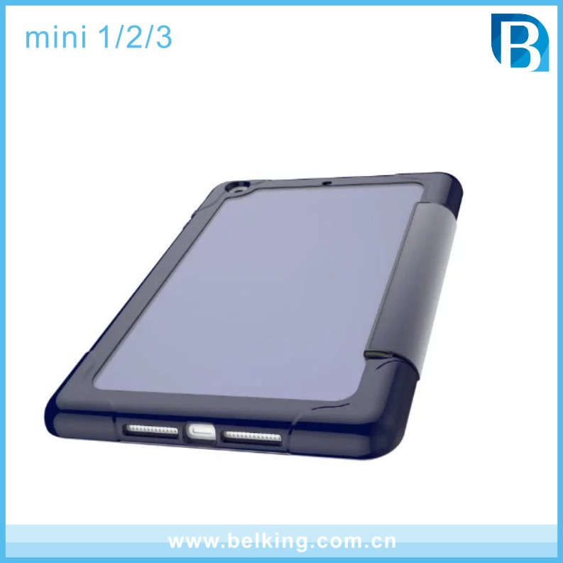 2017 Newest Transparent 3 Folding Leather Cover For iPad mini 1 2 3, For Ipad Mini Clear Leather Tablet Case