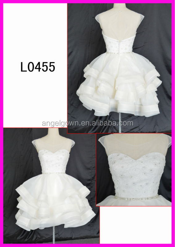 L0455 American style ball gown knee length wedding dress
