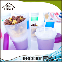 NBRSC Strict Quality Checked Kitchen Plastic Cup With Cereal Plastic Cereal To Go Storage Container with Lid and Spoon