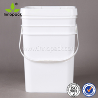 20 liter/5 gallon plastic square bucket / pail /drum with lid and handle for packing