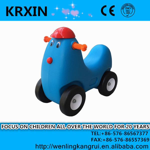 plastic toy blue color chicken ride on toy with wheels for kids