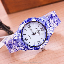 White Plastic Band Geneva Quartz Ladies Fashion Watches Cheap