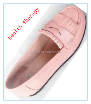 lady pure calf leather flat Shoe for slim and diabetic and massage therapy