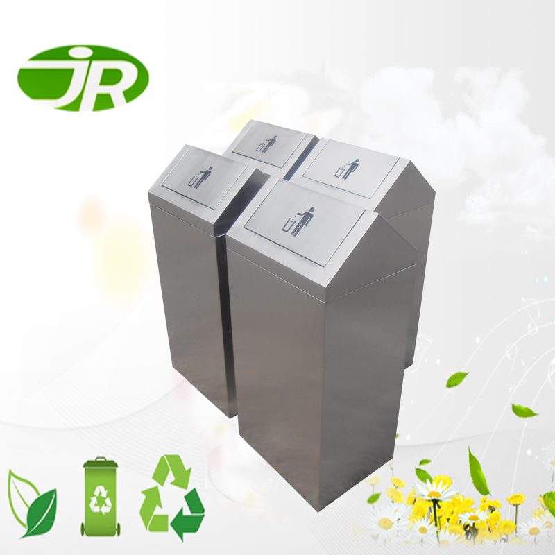Commercial SS square garbage bin with swing lid for sale