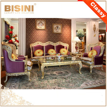 BISINI French Living Room Gold Plated Wood Carving Purple Fabric Sofa Set/ European Classic Wooden Living Room Furniture
