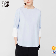 2017 online shop china striped blouse 100 cotton 3/4 sleeve shirts for women