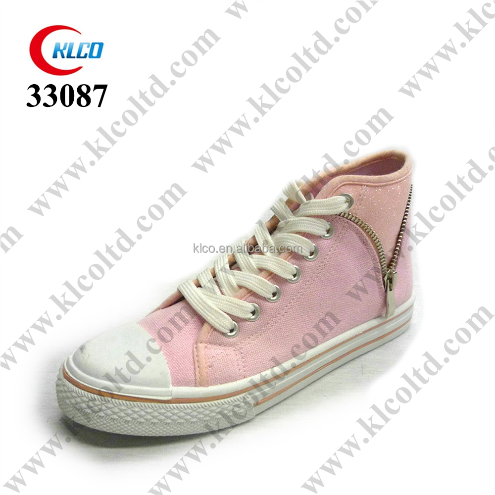 new design personalized high-top pink canvas shoes for women