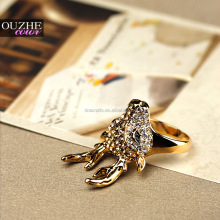 New Fashion Alloy Gold Plating Jewelry Christmas Gift Alloy Deer Ring Rhinestones Rings