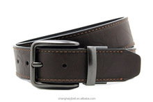 Fashion simple splicing pu leather men belt with rotating buckle