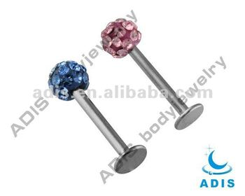 Jewelled labret body jewellery,lip piercing labret studs