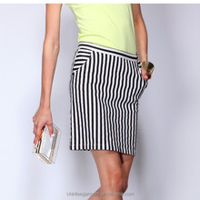 New Female ladies black and white striped skirt
