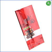 shiny custom printing buyer label tea packaging aluminum foil plastic liner side gusset food packing bag with tear notch
