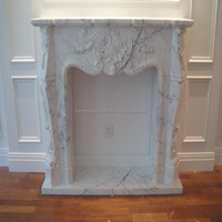 Cararra White Marble Modern Electric Fireplace Hearth Slabs