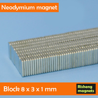 Strong permanent magnetic blocks 8x3x1mm ultra thin magnet