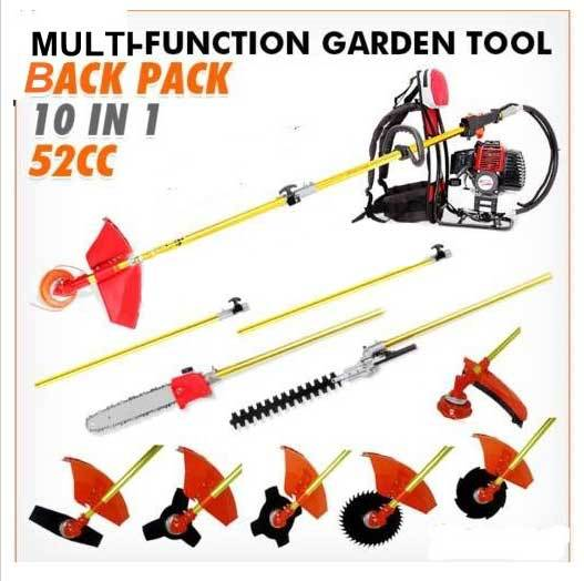 2016 New 10 in 1 Grass cutter with 52cc Engine Multi backpack Brush cutter Tree Pruner with 275cm etend pole factory selling