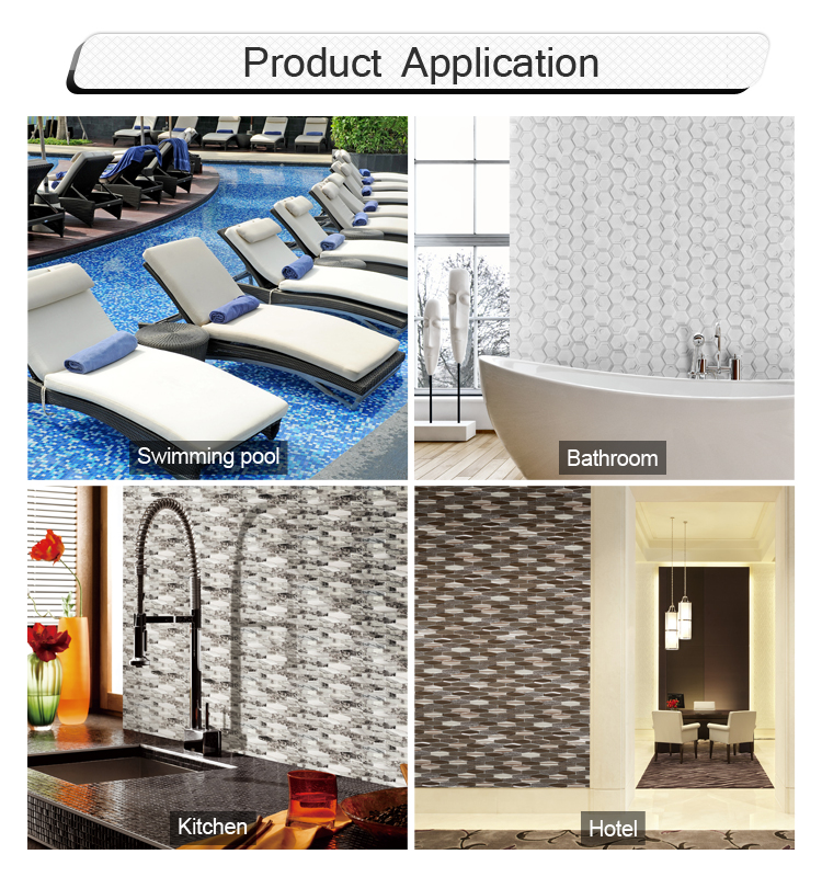 Indoor wall tiles hexagon glass mosaic pattern kitchen bathroom tiles
