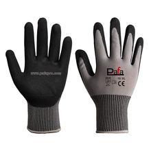 13G grey nylon waterproof mechanical black nitrile cheap work gloves