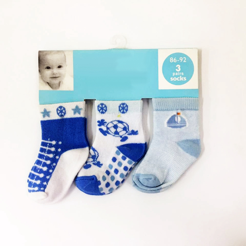 Wholesale high quality Newborn baby socks cotton 3 pairs hanger pack baby random design socks set