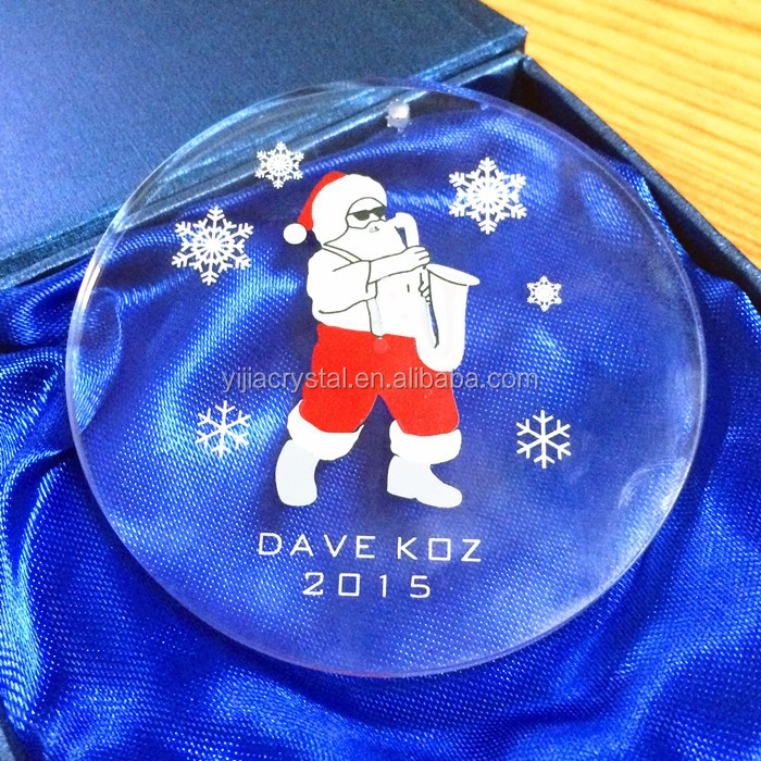 Circular pattern blank crystal cube Christmas ornaments santa claus design