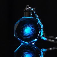 wholesale small gifts promotional gifts crystal glass key ring with LED light