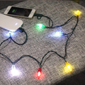 LED round ball christmas color changing string lights usb charging cable